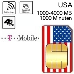 USA T-Mobile 1000-4000 MB Flatrate