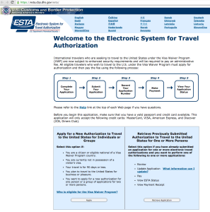 Startseite ESTA  - englische Variante