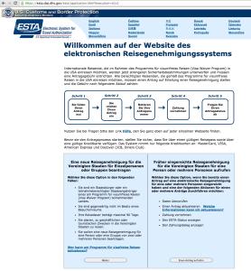 Startseite ESTA in deutscher Sprache