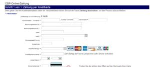 Zahlungsseite - Kreditkarte