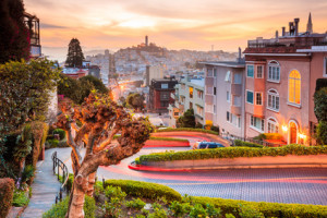Famous Lombard Street in San Francisco at sunrise