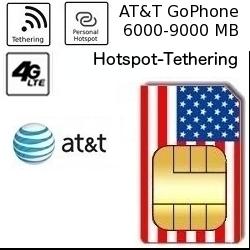 USA Smartphone Tethering SIM mit 6000-9000 MB